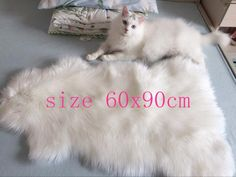 Sheepskin Chair Cover Seat Pad Soft Carpet Hairy Plain Skin Fur Plain Fluffy Area Rugs Bedroom Faux carpet Mat Muzzi 002 4sizes