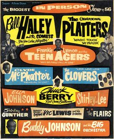 1956 Rock & Roll / R & B Concert Poster: Bill Haley, The Platters, Frankie Lymon, Clyde McPhatter, Chuck Berry, The Clovers, Shirley & Lee and more.