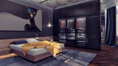 Love the design of this open plan bedroom and built in closet