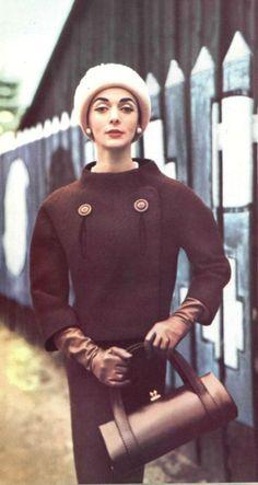 1956 Hubert de Givenchy 50s color photo print ad brown suit jacket skirt purse hat gloves unique style button front cowl collar model magazine designer couture