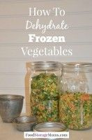 I just heard how to dehydrate frozen vegetables from a reader a few months. She … I just heard how to dehydrate frozen vegetables from a reader a few months. She mentioned to me that she watches for sales on frozen veggies to dehydrate. Canning Food Preservation, Preserving Food, Frozen Vegetables, Fruits And Veggies, Chutney, Classic Kitchen, Canned Food Storage, Canning Recipes, Canning 101