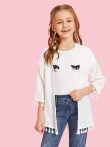 To find out about the Girls Tassel Hem Open Front Kimono at SHEIN, part of our latest Girls Kimono ready to shop online today! Stylish Dresses For Girls, Dresses Kids Girl, Kids Outfits Girls, Cute Girl Outfits, Girls Fashion Clothes, Cute Outfits For Kids, Teen Fashion Outfits, Cute Casual Outfits, Pretty Outfits