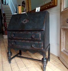 Vintage writing bureau with carving detail Annie Sloan Graphite