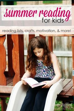 Avoid the summer learning slide by reading. Here is a gathering of reading incentives, reading lists, crafts, printables, and other ideas to get your children excited about reading this summer! #overstuffedlife