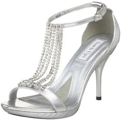 Silver High Heels Bridal Wedding Evening Prom Stilettos Platform ...