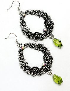 Roses and Crystal Earrings. Pewter Colored Hoops by BeadedEclectic