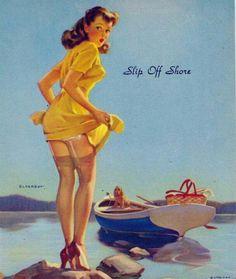 """Slip Off Shore"" Vintage Pin Up Girl Illustration | Pin-Up Girls | Sugary.Sweet | #PinUp #Art #Vintage #Illustration"