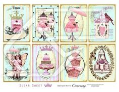ATC - ACEO Shabby Chic Digital Collage Print Sheet no201 on Etsy, $2.95