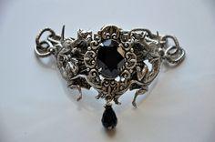 Dragons Bracelet,Gothic,Swarovski Crystal Jet Black Cuff,Slave Bracelet,Vintage Style Bracelet,Victorian,Art nouveau,Antique Silver,FABIA. $129.00, via Etsy.