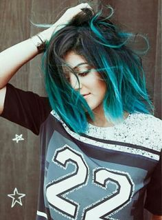 Teal and black hair