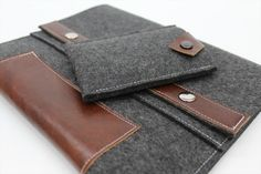 Find this MacBook Case at www.willowandcompany.com  Prices start at $69.00 What a deal for a custom case! - Graphite Grey Wool Felt - Rich Brown Leather