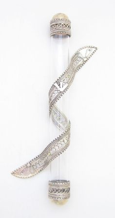 Glass Mezuzah wrapped with Fine Silver Yemen Filigree style $397