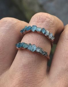 Gemstone stacking ring / Aquamarine ring / Apatite ring / Blue crystal ring / raw gemstone / March birthstone ring / shaded / Gift for wife - Best Jewelry Design 💎 Cute Jewelry, Jewelry Accessories, Jewelry Design, Jewelry Rings, Gold Jewellery, Jewelry Ideas, Diy Jewelry, Copper Jewelry, Jewelry Box