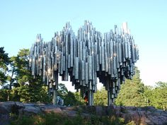 The Sibelius Monument is dedicated to the Finnish composer Jean Sibelius (1865–1957).The monument is located at the Sibelius Park in the district of Töölö in Helsinki.The monument was designed by Eila Hiltunen and unveiled on September 7, 1967. It consists of series of more than 600 hollow steel pipes welded together in a wave-like pattern. The purpose of the artist was to capture the essence of the music of Sibelius. The monument weighs 24 tonnes and measures 8.5 × 10.5 × 6.5 metres.
