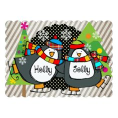Holly Jolly Skating Penguins Holiday 5x7 Paper Invitation Card. Has matching stickers, address labels, postage stamps, and more!