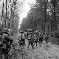 Men of the Seaforth Highlanders and Churchill tanks in the Reichswald forest, 10 February 1945