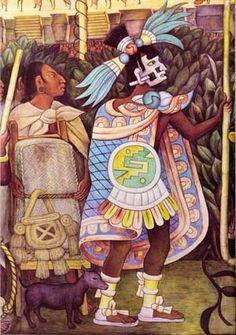 Yacatecuhtli, dios de los comerciantes, y un pochteca, en el mural Cultura totonaca (fiestas y ceremonias), 1950. Diego Rivera