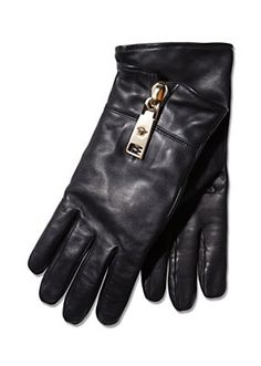 Versace Cashmere Lined Leather Gloves