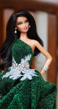 Barbie in green - she is stunning with that dark black hair!