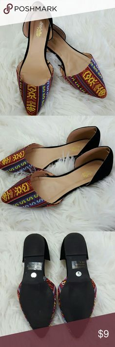Charlotte Russe African Inspired  D'Orsay Flat 8 Trendy style and cut. Worn 2x.   Women's size 8.  Combines well with everything! Charlotte Russe Shoes Flats & Loafers