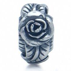 AUTH Nagara 925 Sterling Silver ROSE/FOLWER European Charm Bead #Nagara #FloralLeaf