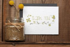 Floral Thank You Seeded Letterpress Greeting Card