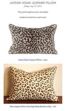 COPY CAT CHIC FIND: Jayson Home's Leopard Pillow VS Snow Leopard Pillow from High Street Market on Etsy