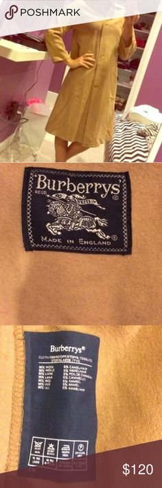 Burberry trench coat 100% authentic, vintage Burberry. Gorgeous Burberry Carmel color trench. Has about 4 tiny holes located at the bottom back. Hardly noticeably. Burberry Jackets & Coats Trench Coats