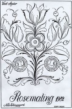 Rosemaling Patterns to Trace Rosemaling Pattern, Norwegian Rosemaling, Tole Painting Patterns, Art Patterns, Scandinavian Folk Art, Pintura Country, Thinking Day, Arte Popular, Painting Techniques