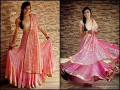 Looking Radiant in a Blush pink  georgette lehenga,     its perfect for a pre-wedding event,   remember its important to have fun at your own wedding!!  ;)  Choose a Fun and dressy Outfit, and enjoy the festivities!!    Urmi.M  - In a Chamee and Palak Lehenga.