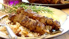 Lamb Kebabs on Spiced Basmati Rice