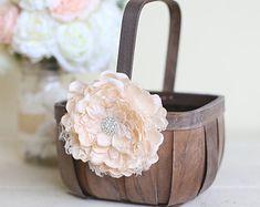 Rustic Flower Girl Basket Lace Rhinestones by Morgann Hill Designs SMALL Chic Wedding, Spring Wedding, Rustic Wedding, Dream Wedding, Wedding Day, Wedding Stuff, Rustic Flower Girls, Before Wedding, Flower Girl Basket