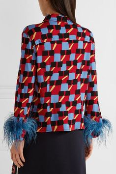 Prada - Feather-trimmed Printed Crepe De Chine Shirt - Red