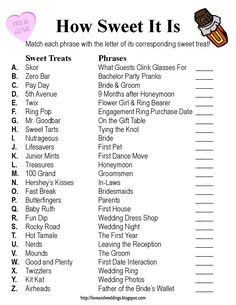 """Bridal shower game """"How Sweet It Is"""" Match up terms with types of candy bars! Description from pinterest.com. I searched for this on bing.com/images"""