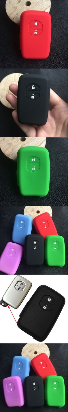 Silicone car key Case Cover For Toyota Camry Highlander Prado Remote Smart Key 2 Buttons