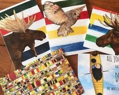 Mixed pack of greeting cards featuring art by Michael Bruneau Etsy Seller, Moose Art, Greeting Cards, Creative, Animals, Animales, Animaux, Animal, Animais