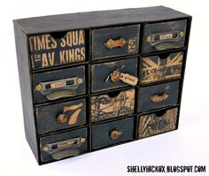 Sizzix Die Cutting Inspiration & Tips: Vintage embellishment chest w chipboard & th candy drawer die Ikea Inspiration, Altered Boxes, Altered Art, Furniture Makeover, Diy Furniture, Craft Tutorials, Diy Projects, Craft Storage, Ikea Storage