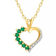 5/4/15 - Emerald Heart Pendant with Diamond in Sterling Silver