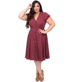 Plus Size 1940s Style Raspberry & Cream Polka Dot Harriet Swing Dress