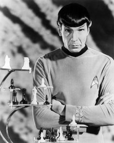 Leonard Nimoy with the 3-dimensional chess prop.
