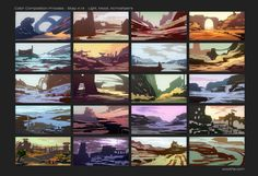 Graphical  Color Composition Thumbnails, Stéphane (Wootha) Richard on ArtStation at https://www.artstation.com/artwork/EZrDv