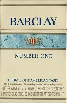 Barclay Number One Ultralight American flavor (French, Dutch, German .
