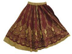 Mogulinterior Womens Skirts, Maroon Gold Flared Cotton Peasant Skirts mogulinterior,http://www.amazon.com/dp/B00E6NG0N8/ref=cm_sw_r_pi_dp_AWh9rb0GYS4P3VXD