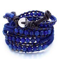 Blue Turquoise Beads Wrap Bracelet On Black Leather