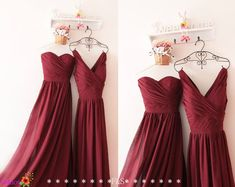 Burgundy Bridesmaid DressStrapless Prom by FashionStreets on Etsy