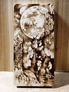 ~moon garden~ maple pyrography, wood burning