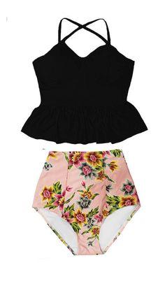 Black Long Peplum Tankini Underwire Padded Top and Flora High Hi waisted waist Swimsuit Swimwear Swim Bathing suit suite Bikini set S M L XL by venderstore on Etsy