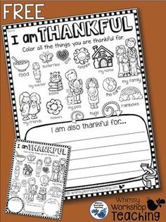 I Am Thankful FREE Writing About Gratitude - Whimsy Worksh