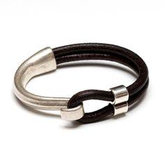 Half Hook Clasp Bracelet - Brown Leather/Silver