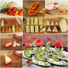 Wonderful DIY Salad boats Food Art | WonderfulDIY.com,Salad boats food art ---   beautiful, easy, fun and nutritious ! They are also a great way to engage your children in the kitchen. (y)  Directions --> http://wonderfuldiy.com/wonderful-diy-salad-boats-